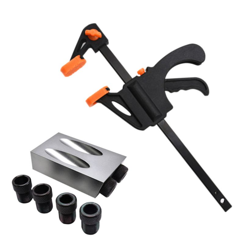 8pcs/set Pocket Hole Jig Kit 15°Angle 6/8/10mm Adapter Oblique Drill Guide Puncher Locator Woodworking Tool