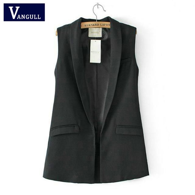 Moda Feminina elegante senhora do escritório casaco bolso coletes sem mangas casaco Colete marca outwear casuais colete feminino venda Quente