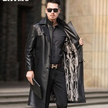 BATMO 2019 new arrival winter high quality Faux Fur thicked long trench coat men,men's parkas,winter