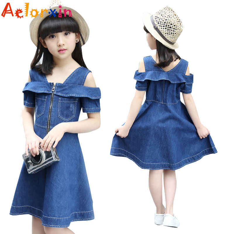 Kids Denim Dresses for Girls Sundress Off Shoulder Girls Dresses Summer 2017 Children Party Dress 4 5 6 7 9 11 12 Years Vestidos 2016 new girls dress cotton summer style sleeveless children dress party dresses for 2 7 years kids toddler vestidos kf509