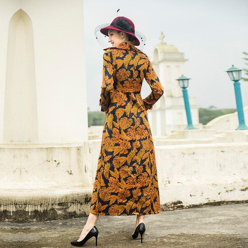 Casaco Vintage 4xl M Printemps Manteau Mode Coupe Jacquard Boutonnage Imprimé vent Long Femmes Manteaux Double 2019 Feminino raqBwr