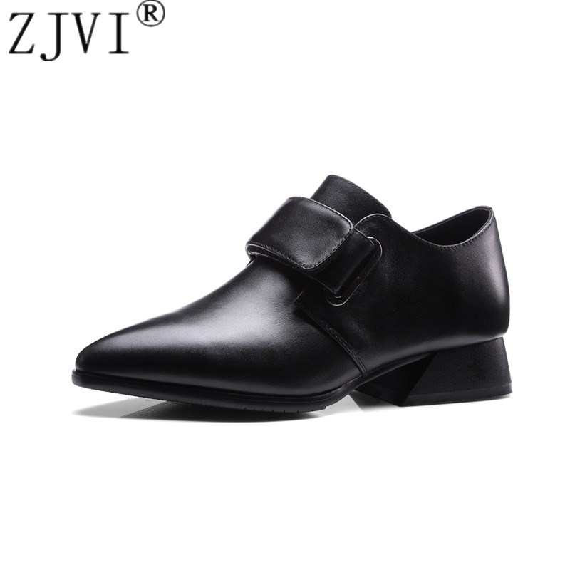 ZJVI women genuine leather pumps woman 3.5cm square heels pointed toe shoes ladies fashion 2018 spring autumn black casual shoes 3 inch autumn horsehair platform square toe creepers high heels yellow ladies green wedge shoes genuine leather wine red pumps