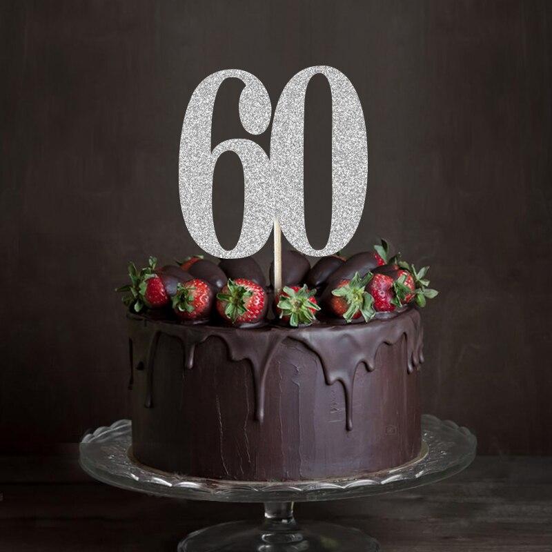 Gold Silver Black Glitter 60 Cake TopperSixty Anniversary Decor 60th Birthday