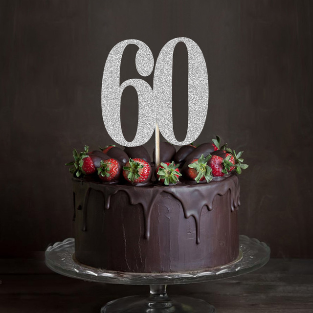 Gold Silver Black Glitter 60 Cake TopperSixty Anniversary Decor 60th Birthday