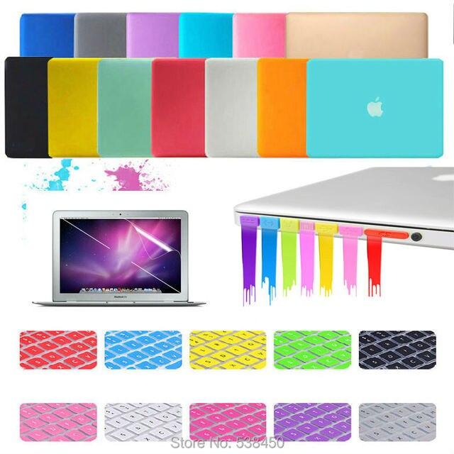 Бесплатная доставка 15 цветов 4на1 матовая жесткий чехол крышка + клавиатура + пленка + штекер комплект для Macbook Air 11 13 / Pro 13 15 + сетчатки