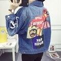 Padrão dos desenhos animados jaqueta jeans calças de brim do furo das mulheres Único breasted casaco feminino estampas de Animais jaqueta senhoras Outono Inverno coats LX6003