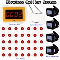 Restaurant Pager Wireless Calling System 1pcs Receiver Host+4pcs Watch Receiver+1pcs Signal Repeater+35pcs Call Button F3258