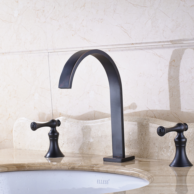 Solid Brass Bathroom Sink/Basin Faucet Double Handles Mixer Tap Countertop Oil Rubbed Bronze reccagni angelo a 6208 2