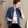 Slim Denim Jackets Women 2017 New Short Style Stand Collar Long Sleeve Female Casual Jacket Blue JRSJ79