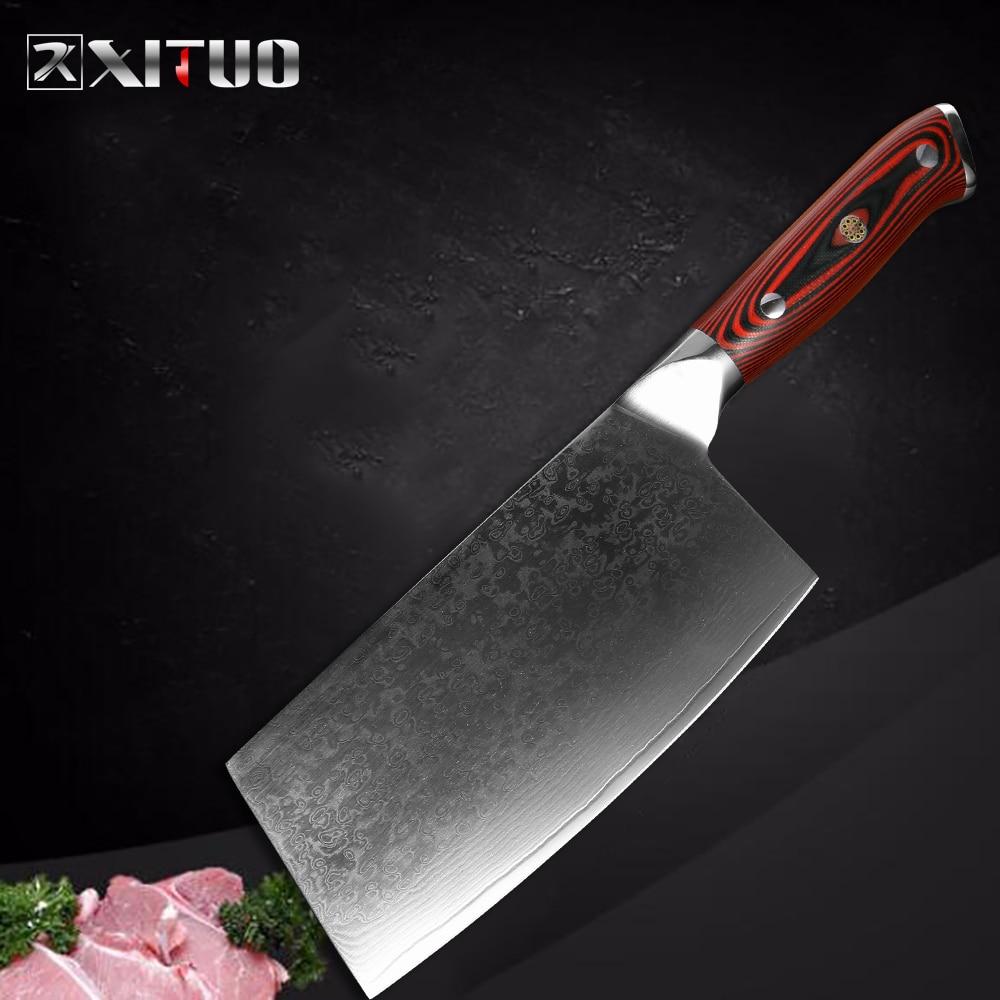XITUO damaszek Steel nóż szefa kuchni profesjonalnego Sharp Cleaver ryby warzyw nóż strona główna restauracja kuchnia narzędzie do gotowania G10 uchwyt w Noże kuchenne od Dom i ogród na  Grupa 1