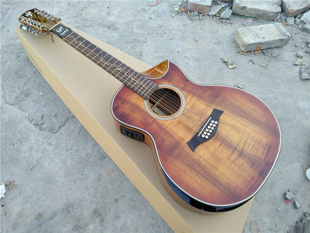 все цены на free shipping Top quality OEM Handmade acoustic 12-string with armrest bevelled cutway 12 Strings custom acoustic guitar