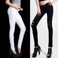 2015 Jeans Skinny mulheres Denim calças buracos destruído calças lápis no joelho calça Casual Black White estiramento Jeans rasgados moda