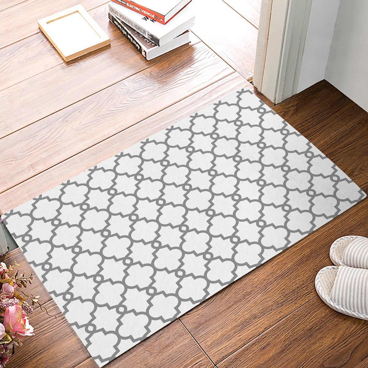 Rug Entrance Gray Moroccan Repeating Geometry Pattern