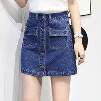 New 2016 summer women saia skirt single breasted A-line denim vintage skirt good quality high waist mini skirt female clothes