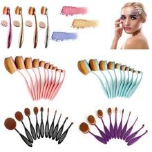 2017 New 10Pcs Oval Shaped Soft Makeup Brushes Set Powder Foundation Cream Liquid Eyeshadow Eyeliner Lip