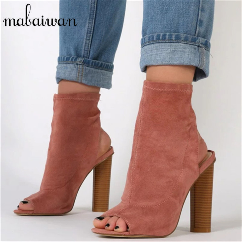 Mabaiwan Sexy Pink Women Stretch Summer Boots Peep Toe Slingback Slip On Botas High Heels Elastic Sock Ankle Booties muffin wedge high heel stretch women extreme fetish casual knee peep toe platform summer black slip on creepers boots shoes