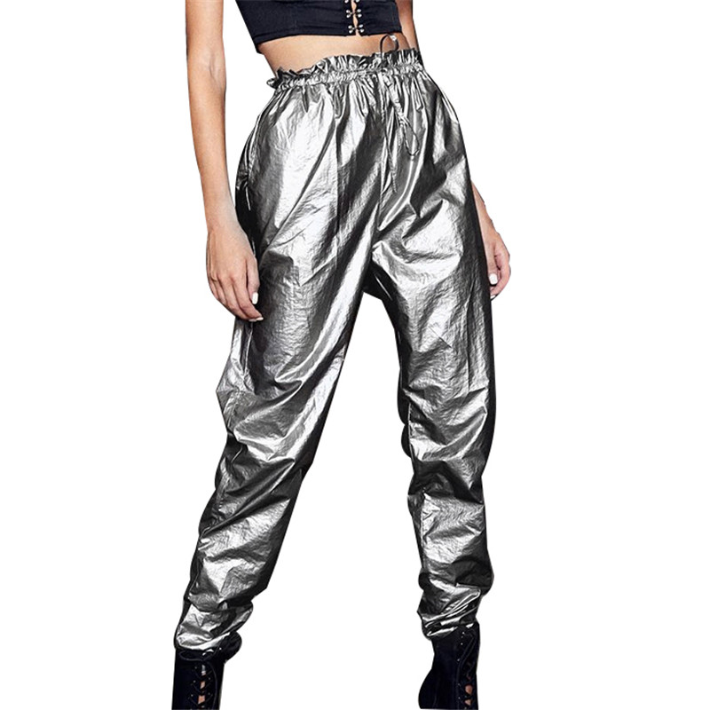 Sparkly Glitter Harem   Pants   Women Summer 2019 Silver Metallic Casual   Pants   &   Capris   Ruffles Elastic Waist Pleated Sweatpants