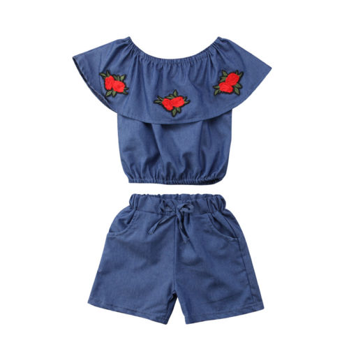 Fashion Baby Girls Embroidered Flowers Outfits Kids Summer Off Shoulder Tops+Den