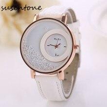 Arenas Movedizas relojes mujer 2016 de primeras marcas de lujo de LA PU de Cuero Rhinestone reloj de las mujeres Reloj de Cuarzo para mujer relojes orologi donna # BK