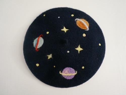 Princess sweet lolita Creative star embroidery Beret Gradual sky universe hat S 5