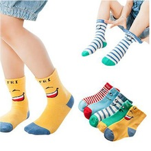 2017 kids socks smiley knee-high socks cotton autumn and winter children socks baby socks
