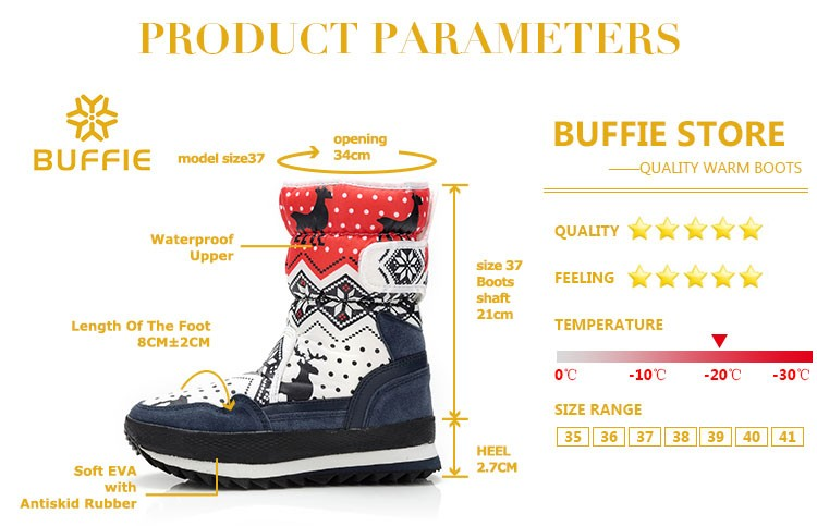 для женщин теплые зимние сапоги противоскользящей подошвой женские зимние сапоги темно-красный новогодние товары олень бренд модный стиль удобные ботинки с пряжкой плюс