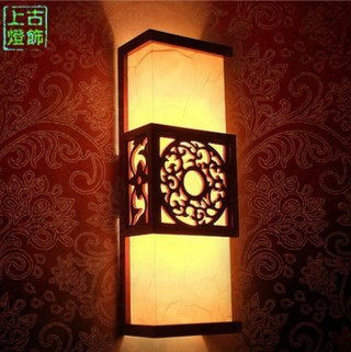 Chinesische Antike Geschnitzte Holzwand Bett Schlafzimmer Flur Klassischen Lampen Importiert Nachahmung SchaffellChina