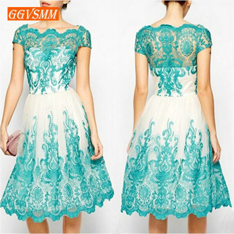 Fashion Boho Short   Prom     Dresses   2019   Prom     Dress   Scoop Tulle Lace Appliques Zipper A-Line Tea Length Pageant Evening Party Gown