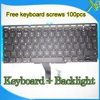 Marca New UK keyboard + Backlight + 100 pcs parafusos do teclado Para MacBook Air 11.6