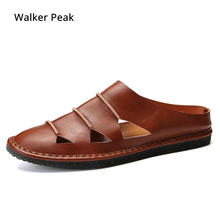 4fba9a4a2 Mulas Homens Chinelos de Couro Genuíno marrom Fumar Couro Slip-On Flats  Sapatos Feitos À Mão moda Casual Big size Marca Walker p.