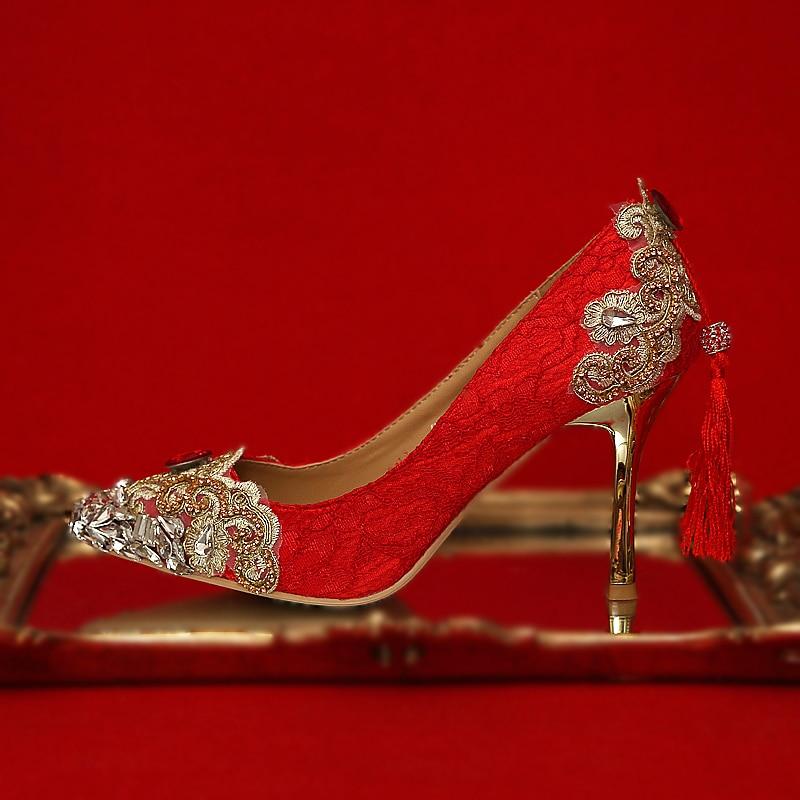 Women Wedding Shoes Red High Heels Crystal Bridal Pumps Gold Stiletto Metal Heels Lace Tassel Ladies
