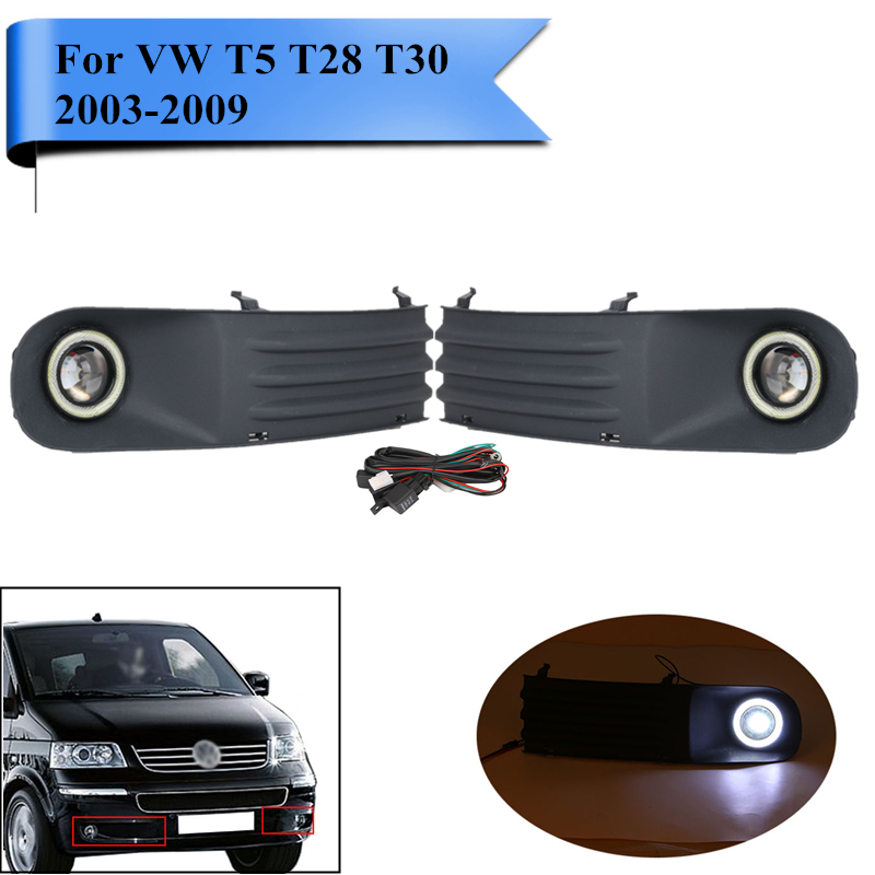 Car Bumper Fog Light Grill Kit LED Angel Eye Daytime Running Lights for VW Volkswagen Transporter T5 T28 T30 2003-2009 #PDK619 wljh 2x canbus led 20w 1156 ba15s p21w s25 bulb 4014smd car lamp drl daytime running light for volkswagen vw t5 t6 transporter