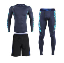 Free Shipping.Brand men's tight sets.dry fast fitness underwear outwear clothing,warm set,3piece set man compression suits