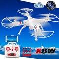 Caliente kvadrokopter x8w fpv 2.4 ghz sin cabeza syma rc quadcopter drone con cámara de 2mp wifi rc helicóptero