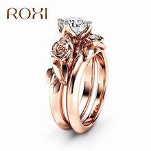 bfdd145c8a9a ROXI 2 piezas joyería de lujo flor Zirconia anillos para las mujeres Rose  Gold Color anillo de boda joyería Dropship bague femme
