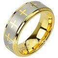Бесплатная Доставка США Горячий Продавать 8 ММ Tungsten Carbide Желтого Золота Гальваническим Лазерной Гравировкой Кресты Дизайн Мужские/Женщины Свадебные Кольцо диапазона