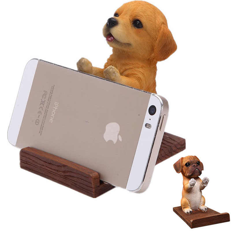 Cell Phone Holder Wood Grain Resin 3D Animal Cute Pet Smartphone Dog Desk Stand Bracket For iPhone 7 8 X xs xiaomi samsung s8