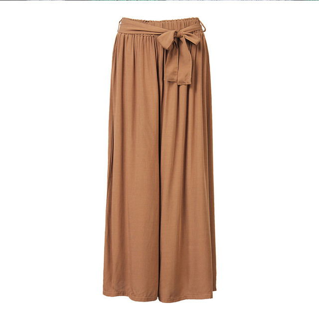 2017 Women Casual Loose Wide Leg Pants Vintage Elastic Waist Trousers Casual Cotton Oversized Solid Long Pants Plus Size L-5XL