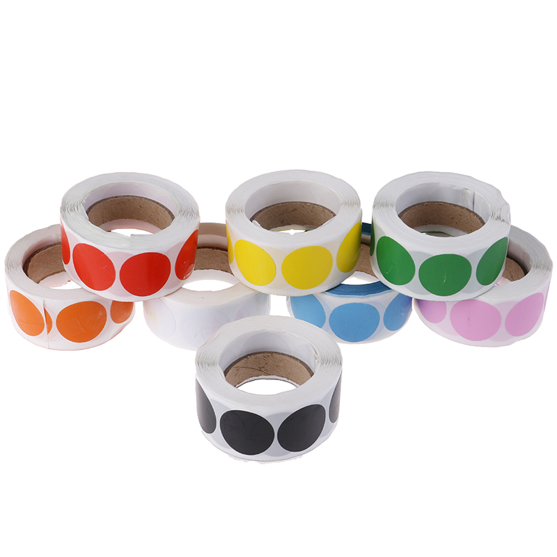Chroma Label 1 inch Color-Code Dot Labels stickers 500/Roll Black,white,green,blue,orange,red,pink,yellow stationery stickers(China)