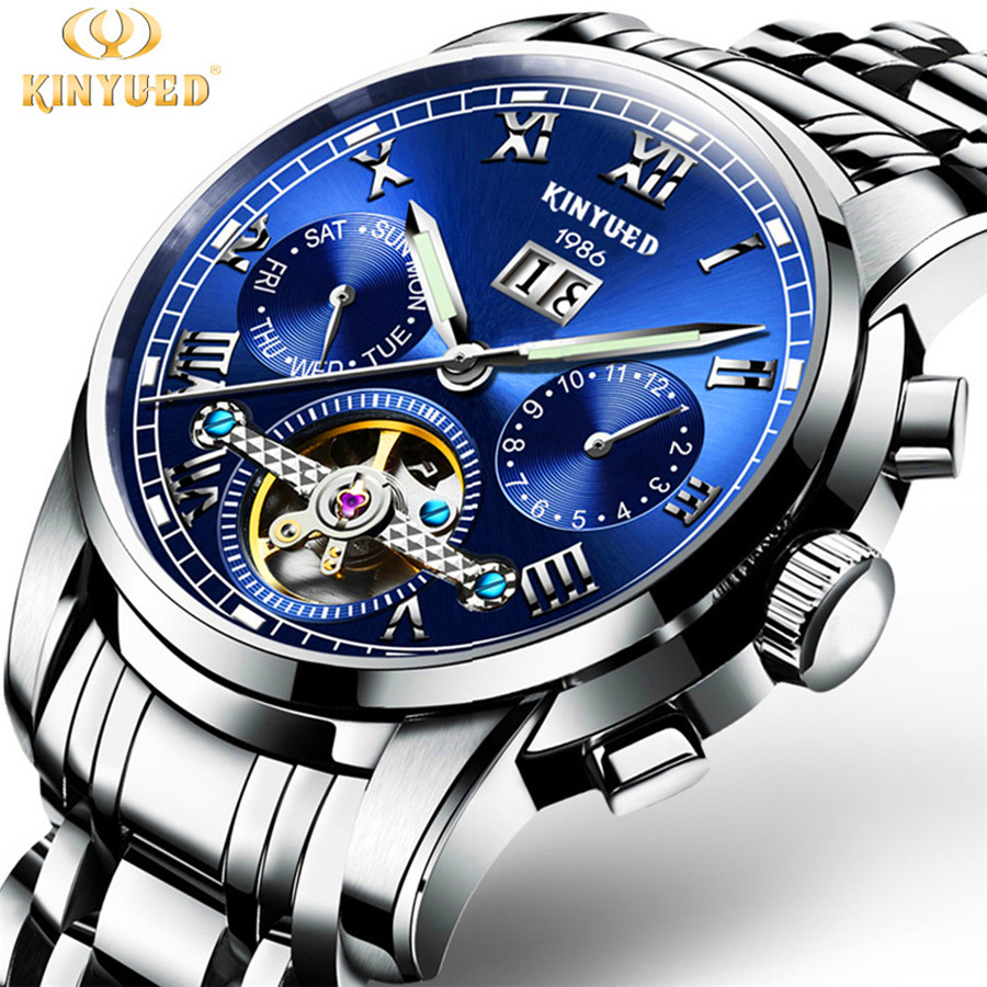 все цены на KINYUED Mens Watches Top Brand Luxury Automatic Mechanical Watch Men Full Steel Business Waterproof Watches Relogio Masculino