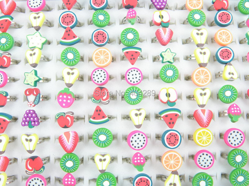 Wholesale 100Pcs Polymer Clay Fruite Finger Rings For Kids Flower Adjustable Wedding Rings For Children Gift