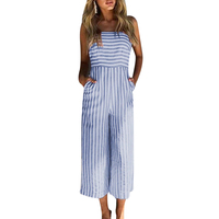 Vintage Spaghetti Strap Rompers Summer Beach High Waist Backless Bow Playsuits Casual Striped Off Shoulder Jumpsuits For Women