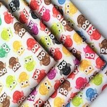 Tela 100% de algodón con estampado de búho de dibujos animados tejidos de algodón, Textiles para el hogar costura tela de tapicería Material 100cmx160