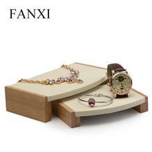 FANXI 2 Pieces /Set Wooden Jewellry display stand with microfiber Insert for showcase bracelet bangle Exhibition Earring Holder