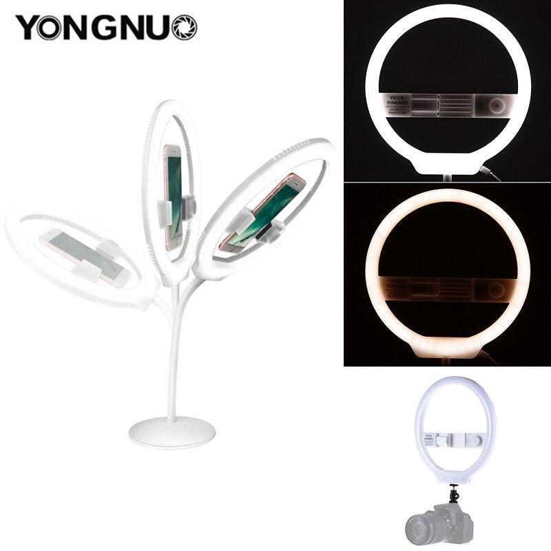 YONGNUO YN128 anneau lumière caméra Photo/Studio/téléphone/vidéo 128 LED 3200 K-5500 K photographie Dimmable anneau lampe