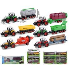 лучшая цена New Creative Childen Tractor Alloy Construction Vehicle Model Farm Harvester Loading Transporter Boy Toy Vehicle Farmer