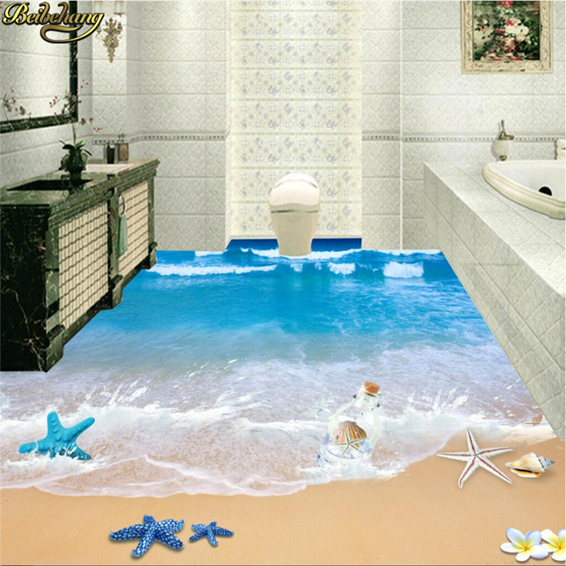 beibehang 3d three dimensional painting 3d beach bathroom. Black Bedroom Furniture Sets. Home Design Ideas