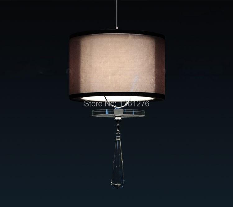 ФОТО new modern fashion 3W E27 Lantern LED pendant lights Crystal Pendants Lamps Double Cloth Lampshade