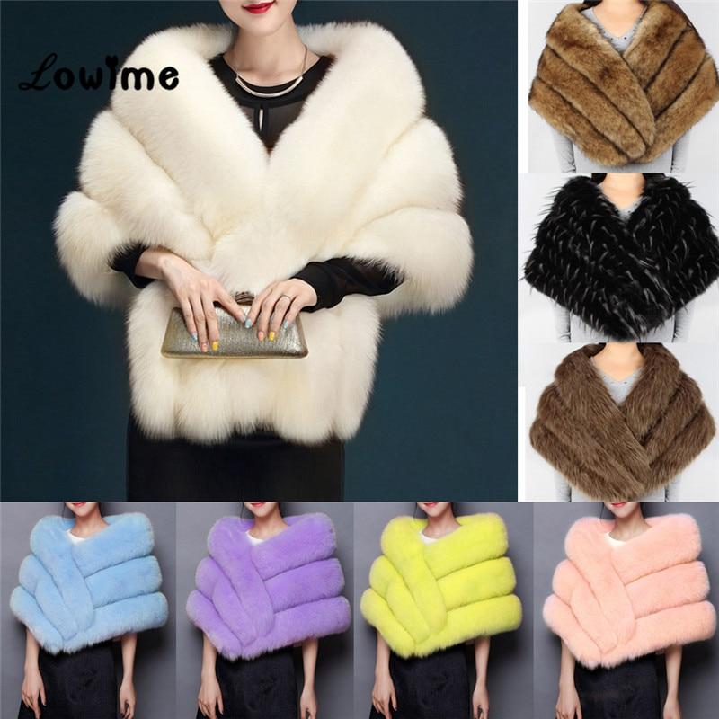 Multi Color In Stock Bolero Women Faux Fur Wedding Jacket Cheap Fur Shawl Bridal Shrug Cape Mariage 2018 Winter Bridal Cloak New