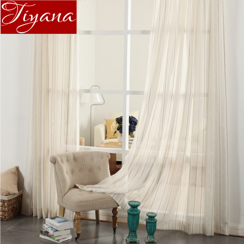 Striped Curtains Voile Window Screen Yarn Panel Modern Living Room Bedroom Balcony Kitchen Tulle Custom